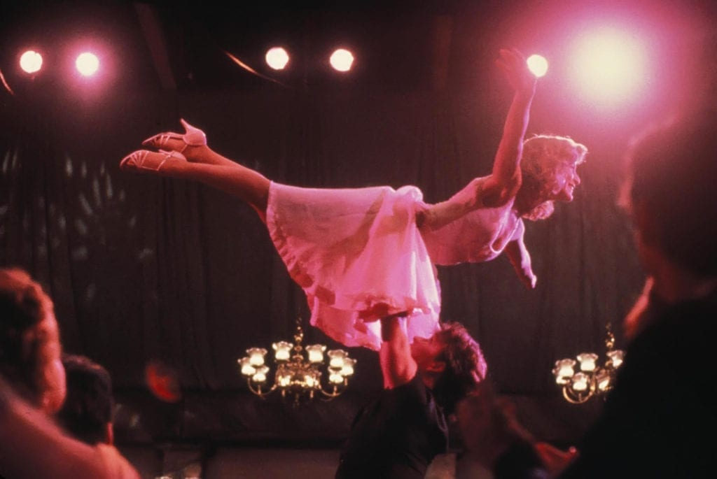 Baby (Jennifer Grey) and Johnny (Patrick Swayze) successfully do The Lift in Dirty Dancing.