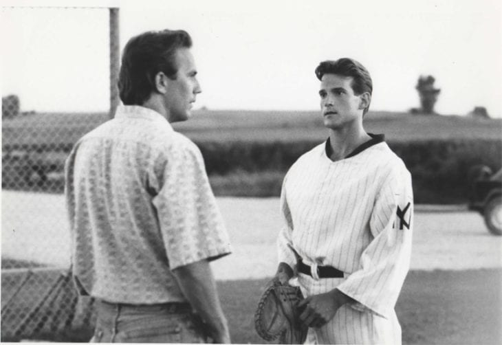 Kevin Costner and Dwier Brown created father-son redemption fantasy in FIELD OF DREAMS.