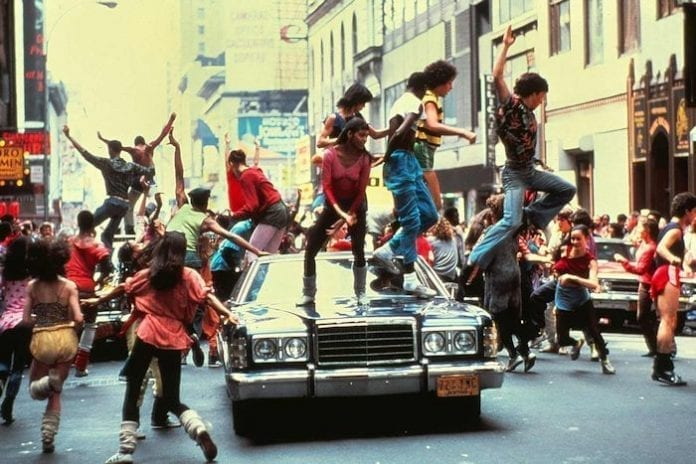 Fame 1980 dancing on the car
